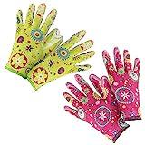 com-four® 2er Set Premium Handschuhe für Garten und Arbeit - Boden- und Pflanzhandschuhe Flower-Power, Größe 8 in grün & pink (02 Paar - Flower grün/pink)