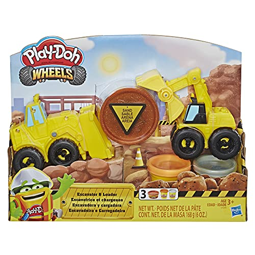 Play-Doh E4294 Wheels Excavator & Loader Toy Construction Trucks with Non-Toxic Sand Build in' Compound Plus 2 Additional Colors