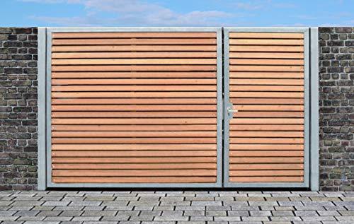 Elektrisches Einfahrtstor Qas Tor Holztor Gartentor Hoftor Verzinkt mit Pfosten & Holzfüllung 2-flügelig 300cm x 180cm
