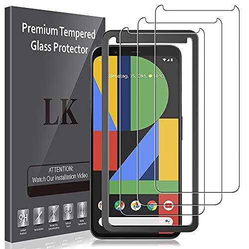 LK 3 Pack Schutzfolie kompatibel mit Google Pixel 4 XL, Google Pixel 4 XL schutzfolie,Gehärtetes Glas Alignment Frame Einfache Installation Bubble Free
