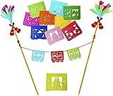 Muunek Feliz Cumpleaños Cake Topper Mexican Happy Birthday Decoration 10 Mini Papel Picado Decorations