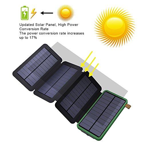 X-DRAGON Cargador Solar 10000mAh Solar Power Bank con Dual USB, 4 Paneles Solares, SolarIQ Tecnología Solar Cargador de Teléfono para iPhone, Celular, Samsung, iPad, Exterior, Camping y más