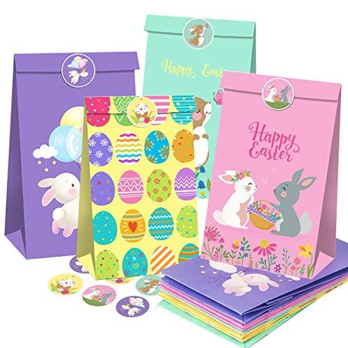 Wishstar Bolsas de Regalo para Pascua, Bolsas de Papel de Pascua, con 12 Bolsas de Papel y 18 Pegatinas con Motivos de Pascua, Bolsas Papel Regalo para Envolver Regalos de Pascua