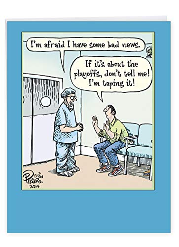 8.5 x 11 Inch 'Bad News' Happy Birthday Card With Envelope - Funny Sports Playoffs - Humorous HBD Greeting Card To Celebrate Football, Basketball, Baseball Fans (Extra Large Version) J9770