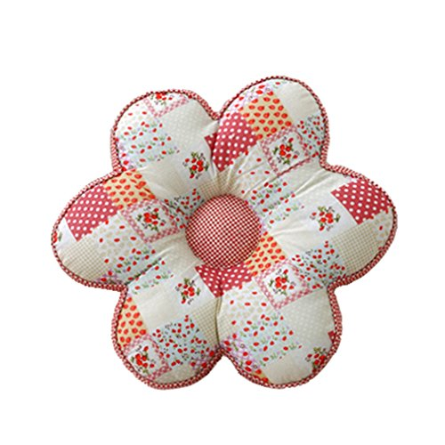 Nunubee Kissen Baumwollmaterial Blumenform Tatami-Stil zierkissen mit füllung apelt kissenhülle Vintage deko Dekoration deko Kissen deko Wohnzimmer Autodekoration Sofa Cover, Erdbeerstil 40x40cm