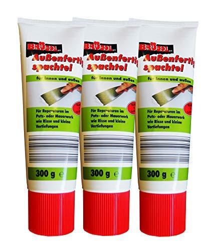 3 x Brücol Außenfertigspachtel 300g, Spachtel-Masse, Reparatur-Spachtel, Putz