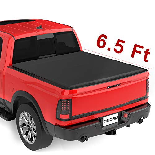 oEdRo Upgraded Soft Tri-fold Truck Bed Tonneau Cover On Top Compatible for 2002-2020 Dodge Ram 1500 (Incl. 2019 New Body), 2003-2018 Dodge Ram 2500 3500 with 6.4ft Bed, Fleetside (Without Ram Box)