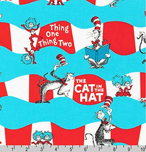 """1/2 Yard - Dr Seuss Cat in The Hat Thing One and Thing Two Sewing Fabric 100% Cotton - Half Yard (18"""" x 44"""")"""