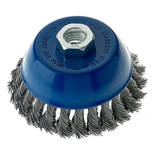 "Mercer Industries 189060 Knot Cup Brush, 4"" x 5/8""-11, For Angle Grinders, Stainless Steel"