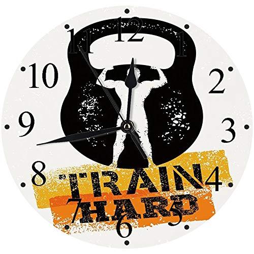 Yaoni Silencioso Wall Clock Decoración de hogar de Reloj de Redondo,Fitness, Envejecido Pantalla dañada Kettlebell Muscular Athletic Hombre Silueta Tren Duro D,para Hogar, Sala de Estar, el Aula