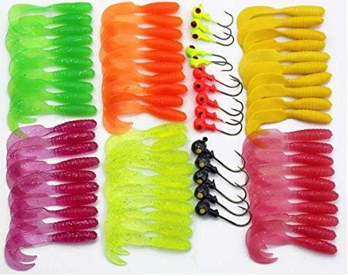 Fishing Lure Grub Maggots 60pcs Fish security w 15pcs Hooks New product