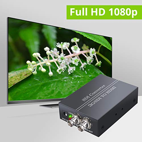 SDI zu HDMI 1080P Konverter von LiNKFOR SDI Eingang HDMI Ausgang SDI Loop Ausgang mit Netzteil Video Audio Konverter, 3G-SDI / HD-SDI / SD-SDI zu HDMI Adapter für SDI Camcorder zu VCR HDMI Monitor