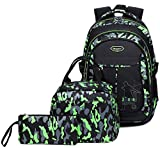 Kids Boys Backpacks Elementary School Camouflage Bookbag 3pcs Set with Lunch Bag (Green)