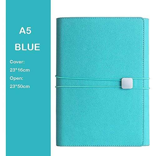 LIUCHEN NotizbuchA5 Loseblatt Kreatives Notizbuch Multifunktionsspule Notizblock Business Geschenkbox Set Handkonto Ledertasche Notizbuch, Blau, A5