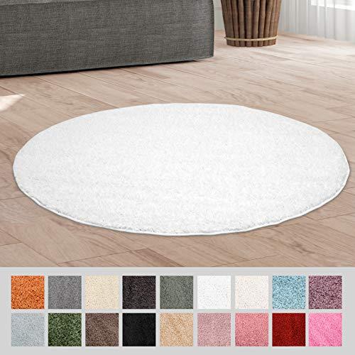 Taracarpet Hochflor Langflor Shaggy Teppich geeignet für Wohnzimmer Kinderzimmer und Schlafzimmer flauschig und pflegeleicht Weiss 120x120 cm rund