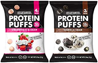 Shrewd Food Low Carb Protein Puffs 8 Pack | 100g Protein (14g per Serving) | High Protein, Gluten Free Snacks | No Artificial Flavors, Soy Free, Peanut Free | Cookies & Cream, Strawberries & Cream