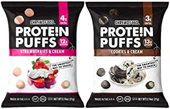 Shrewd Food Low Carb Protein Puffs 8 Pack   100g Protein (14g per Serving)   High Protein, Gluten Free Snacks   No Artificial Flavors, Soy Free, Peanut Free   Cookies & Cream, Strawberries & Cream
