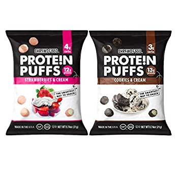 Shrewd Food Low Carb Protein Puffs 8 Pack | 100g Protein | High Protein Gluten Free Snacks | No Artificial Flavors Soy Free Peanut Free | Cookies & Cream Strawberries & Cream