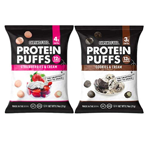 Shrewd Food Low Carb Protein Puffs 8 Pack | 100g Protein | High Protein, Gluten Free Snacks | No Artificial Flavors, Soy Free, Peanut Free | Cookies & Cream, Strawberries & Cream