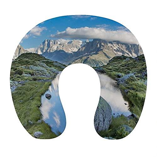 Almohada para Viaje Suave Viscoelastica 30x29x10 cm Almohada Viaje Cervical Transpirable Lavable Almohadas con Cremallera Relajarse Reposacabezas,Cielo Azul Nube Blanca