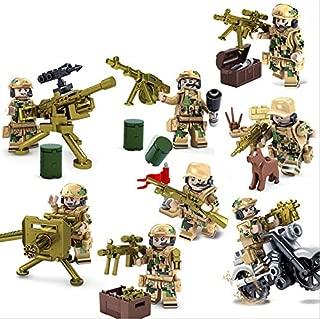 互換 迷彩 軍隊 小隊 ミニフィグ 8体セット ミニフィギュア 機関砲 ガトリング
