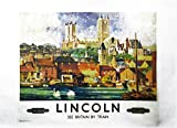Lincoln - Retro Style Travel Poster Large Cotton Tea Towel