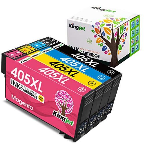 Kingjet 405XL Druckerpatronen Kompatibel für Epson 405 405 XL für Epson Workforce Pro WF-3820DWF WF-3825DWF WF-4820DWF WF-4825DWF WF-4830DTWF Workforce(1 BK/1 C/1 M/1 Y)