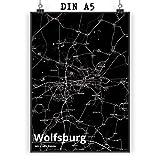 Mr. & Mrs. Panda Poster DIN A5 Stadt Wolfsburg Stadt Black