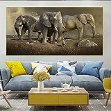 Geiqianjiumai Elefante Africano Grande Vida Silvestre Naturaleza Animal y Humano Vida pacífica Lienzo Imagen Impresión Arte de la Pared Decoración del hogar Pintura Pintura sin Marco 60X120CM