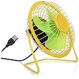 com-four Ventilador de Mesa USB, Mini Ventilador silencioso para Oficina y Escritorio, Ventilador de pie Fresco en Colores alegres y veraniegos (Amarillo Verde)
