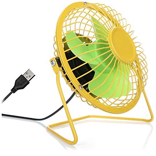 COM-FOUR® USB Tischventilator, leiser Mini-Ventilator für Büro und Schreibtisch, cooler Standventilator in sommerlich frohen Farben (gelb grün)