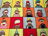Sock Monkey Yearbook Fabric Very Nice Fat Quarter New Btfq