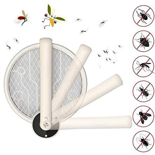 RAIN QUEEN Elektrische Mückenklatsche Faltbar Fliegenklatsche elektrische Insektenvernichter Fliegenfänger USB 3000 Volt mit LED Beleuchtung Ideal für Drinnen und Draußen Reise Camping (Beige)