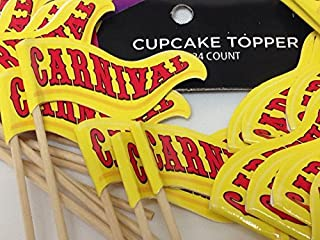 24 Carnival Cupcake Birthday Party Flag Banner Cake Decorations Party Supplies