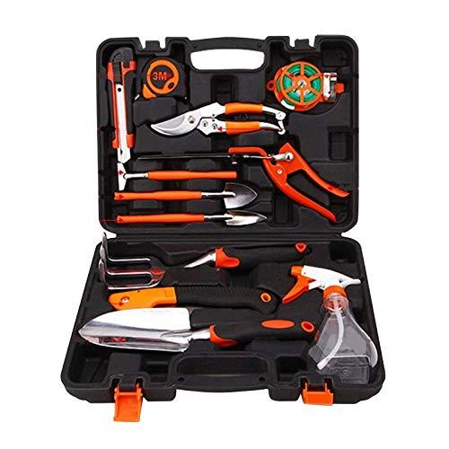 Juego de herramientas de jardín, 12 piezas, incluye tijeras, cuchillo, pala, regadera y caja de herramientas