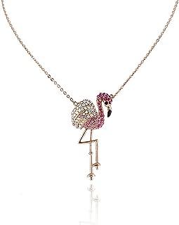 Vivid Flamingo Austrian Crystal Animal Pendant Necklace Gold-Tone for Children, Daughter