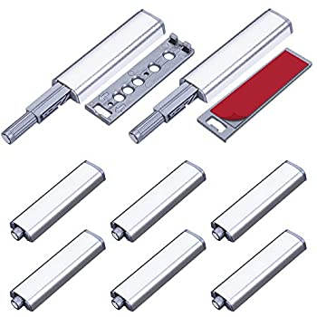 Magnetic Push Latches for Cabinet Jiayi 8 Pack Push Open Latch Aluminum Push Touch Latch Heavy Duty Push Release Latch Door Magnet Push to Open Latch for Drawer Closer Kitchen Closet Door Closing