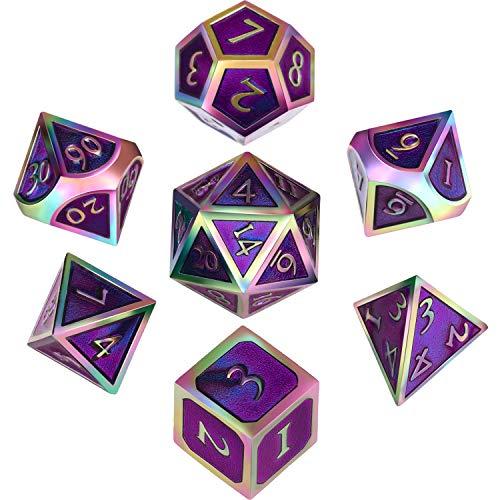 Hestya 7 Stück Metall würfelt Set DND Spiel Polyhedral festes Metall D & D-Würfel-Set mit Aufbewahrungstasche und Zink-Legierung mit Emaille Bunte Lila