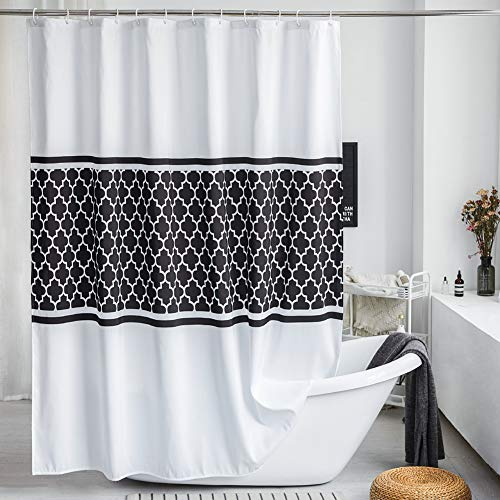 LanMeng Elegance Luxury Fabric Shower Curtain for Bathroom, Tribal Quatrefoil, Black White, Machine Washable, 72-by-72 inches