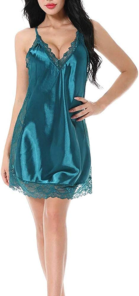 ALLUROMAN Women A surprise price is realized Lingerie Satin Max 84% OFF Lace Chemise Dress Sleepwear Slip