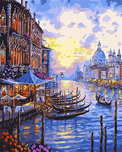 DIY pintura al óleo por números Kits lienzo pintura al óleo góndola noche tienda de barcos ciudad costera para adultos y principiantes de dibujo