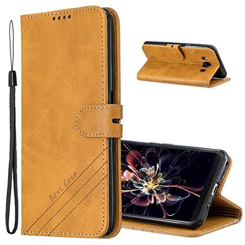 MRSTER Funda para Samsung Galaxy J5 2016, Simple y Elegante Funda Protector Carcasa PU Leather con TPU Silicona Case Interna Suave para Samsung Galaxy J5 2016 Smartphone. Retro Yellow