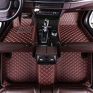 8X-SPEED Custom Car Floor Mats Fit for Mercedes Benz CLK Class 200 240 280 350 2004-2006 Full Coverage All Weather Protection Waterproof Non-Slip Leather Liner Set Coffee Color
