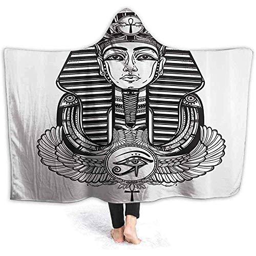 ZAlay Kapuze Decke Vintage Pharao Tattoo Print Super weiche Flanell Sherpa Plüsch Fleece tragbare Decke