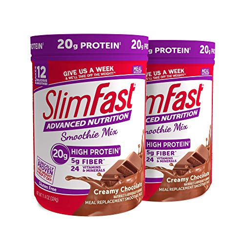SlimFast Advanced Nutrition Creamy Chocolate Smoothie Mix  Weight Loss Meal Replacement  20g of protein  11.4 oz Canister  12 servings (Pack of 2)