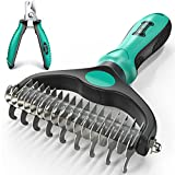 Ruff 'n Ruffus Double Sided Pet Undercoat Rake Brush + Free Nail Clippers for Dogs & Cats   Professional Grade Pet Grooming Rake Tool Double-Tiered for Dematting Knots & Tangled Fur
