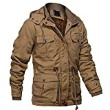 Tactical Jackets for Men Mens Winter Coats Parka Jacket Men with Removable Hood Work Jacket Winter Jacket Men Casual Cotton Windbreaker Multi Pockets Khaki