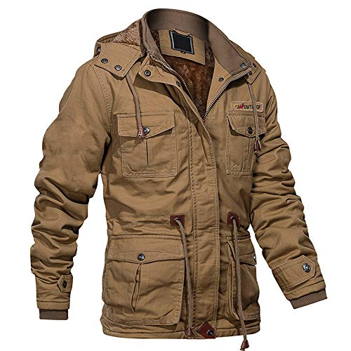 MAGCOMSEN Mens Winter Jackets Fleece Tactical Jacket Work Jacket Military Jacket Combat Jacket Outdoor Windbreaker Warm Jacket Khaki