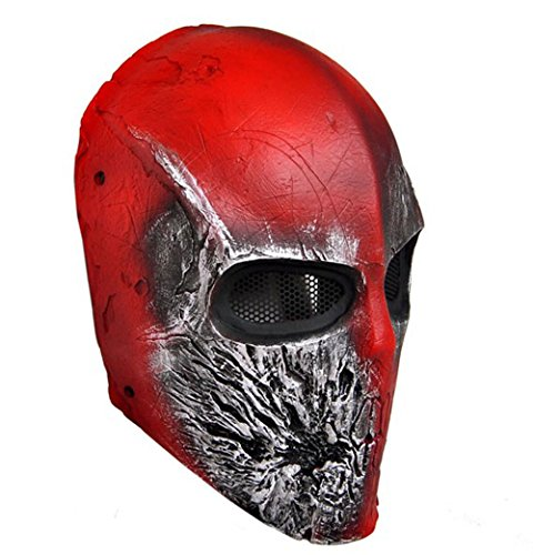 OSdream CS Protection Mask Halloween Mask Full Face Mask for Airsoft, BB Gun and Paint Ball Red
