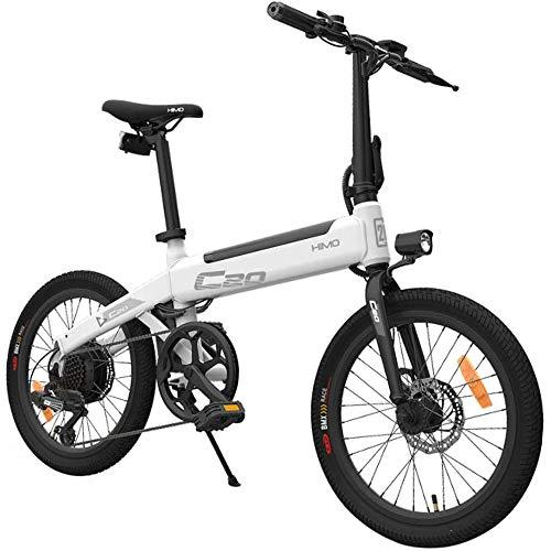 HIMO C20 Bicicleta eléctrica para adultos, bicicletas eléctricas 10Ah 250W 20 pulgadas con Shimano 6 velocidades 3 modos de conducción Velocidad máxima 25 km / h para hombres, mujeres, ciudad-Blanco